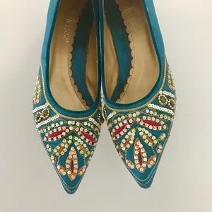 SILK & SEQUINS FREE PEOPLE POINTED TOE FLATS